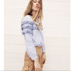 J. Crew Tiered top in mixed stripes